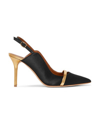 Malone Souliers Marion 85 Metallic Med Satin Slingback Pumps