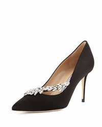 Manolo Blahnik Nadira Jeweled Satin 90mm Pump