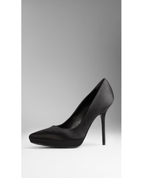 Burberry Point Toe Satin Platform Pumps