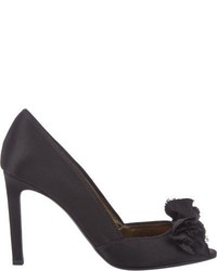 Lanvin Satin Bow Embellished Pumps Black