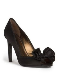 Lanvin Satin Peep Toe Pumps