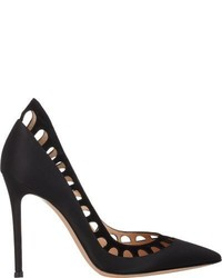 Gianvito Rossi Satin Suede Amal Pumps Black