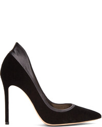 Gianvito Rossi Tuxedo Satin Trimmed Velvet Pumps