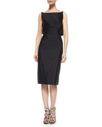 Black Satin Sheath Dress