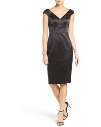 Deep v neck stretch satin sheath dress medium 1044302