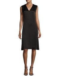 Grey By Jason Wu Sleeveless V Neck Satin Shift Dress Black
