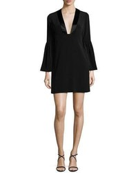 Jill Jill Stuart Velour Bell Sleeve Shift Dress Black