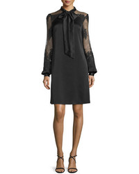 Kay Unger New York Tie Front Satin Cocktail Dress Black
