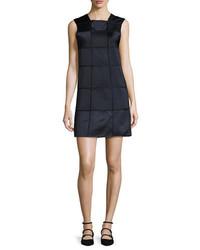 Zac Posen Sleeveless Windowpane Shift Dress Midnightblack