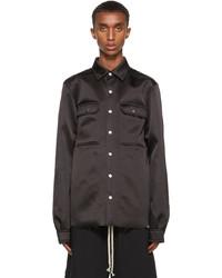 Rick Owens Black Satin Outershirt Jacket