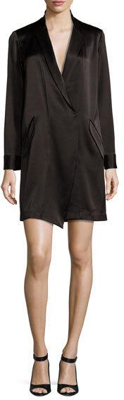 Halston Heritage Long Sleeve Shawl Collar Satin Shirt Dress Black