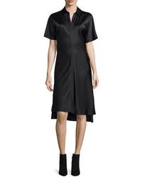 DKNY Short Sleeve Satin Shirtdress Black