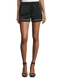 ATM Anthony Thomas Melillo Piped Silk Satin Lounge Shorts Black