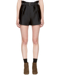 3.1 Phillip Lim Black Satin Origami Shorts