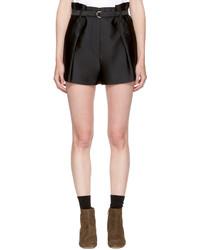 3.1 Phillip Lim Black Satin Origami Shorts