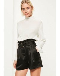 Missguided Black Super High Waisted Belt Detail Shorts