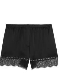 Alexander Wang Eyelet Embellished Lace Trimmed Silk Satin Shorts Black