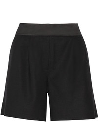 Karl Lagerfeld Evelia Satin Trimmed Stretch Wool Twill Shorts