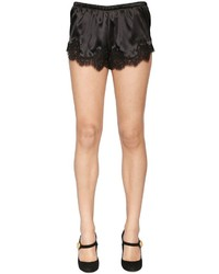 Dolce & Gabbana Silk Satin Shorts W Lace Trim