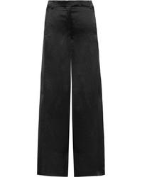 Valentino Hammered Satin Wide Leg Pants Black