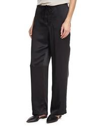 Brunello Cucinelli Satin Track Stripe Wide Leg Pants Black