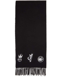 McQ Alexander Ueen Black Skater Swallow Badge Scarf