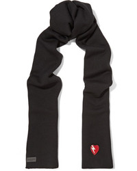 Saint Laurent Appliqud Wool Scarf Black