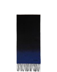 Paul Smith Black And Blue Cashmere Contrast End Scarf