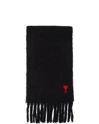 AMI Alexandre Mattiussi Black Mohair Heart Logo Scarf