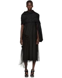 Simone Rocha Black Wool Tweed Scarf