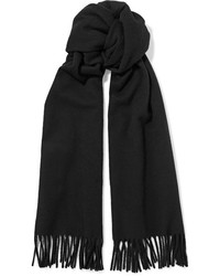 Acne Studios Canada Narrow Fringed Wool Scarf Black