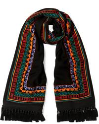 Janavi Embellished Merino Wool And Cashmere Blend Scarf Black