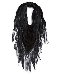 David & Young Faux Leather Fringe Triangle Scarf