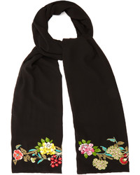 Etro Floral Embroidered Silk Scarf