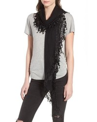 Saint Laurent Fringed Diamond Scarf