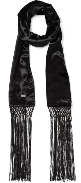 Saint Laurent Fringed Velvet Scarf Black