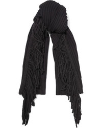 Rag & Bone Kelsey Fringed Merino Wool And Alpaca Blend Scarf Black