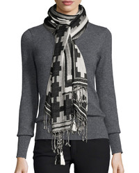 Michael Stars Michl Stars Fringed Border Scarf Black