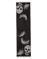 Alexander McQueen Oversize Skull Feather Wool Scarf