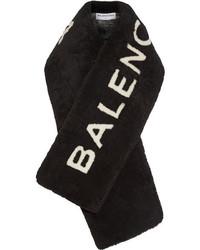 Balenciaga Shearling Scarf Black