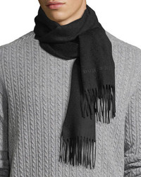 Burberry Solid Logo Embroidery Cashmere Scarf