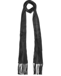 Bottega Veneta Tasseled Pliss Silk Chiffon Scarf Black