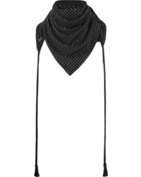 Saint Laurent Tasseled Studded Suede Scarf
