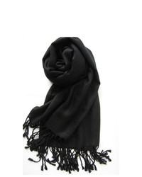 TheDapperTie Black Solid Winter Scarf Pp001