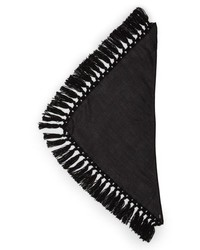 Saint Laurent Triangle Wool Knot Fringe Scarf
