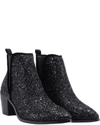 Black Pointy Sequined Boots