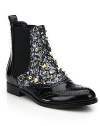 Dolce & Gabbana Embellished Wingtip Brogue Leather Boots