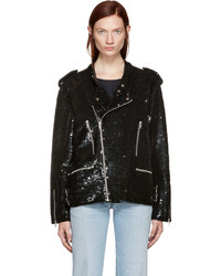 Black Sequin Biker Jacket