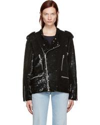 Ashish Black Sequin Biker Jacket