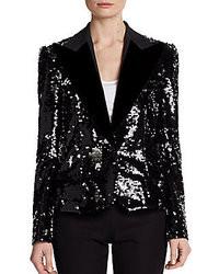 Dolce & Gabbana Velvet Lapel Sequin Blazer